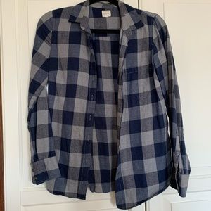 J. Crew The Perfect Shirt Navy Gray Flannel XS